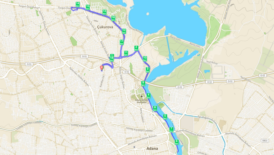 Bisiklet rotası Harita